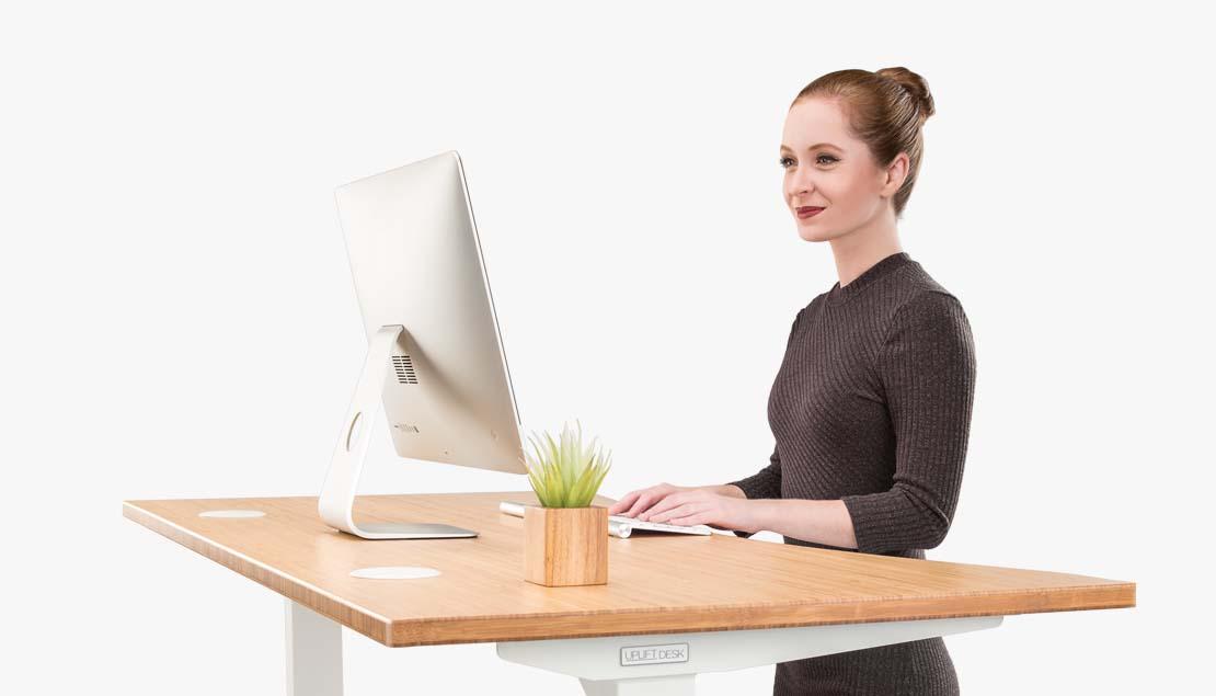 customer service using a standing desk