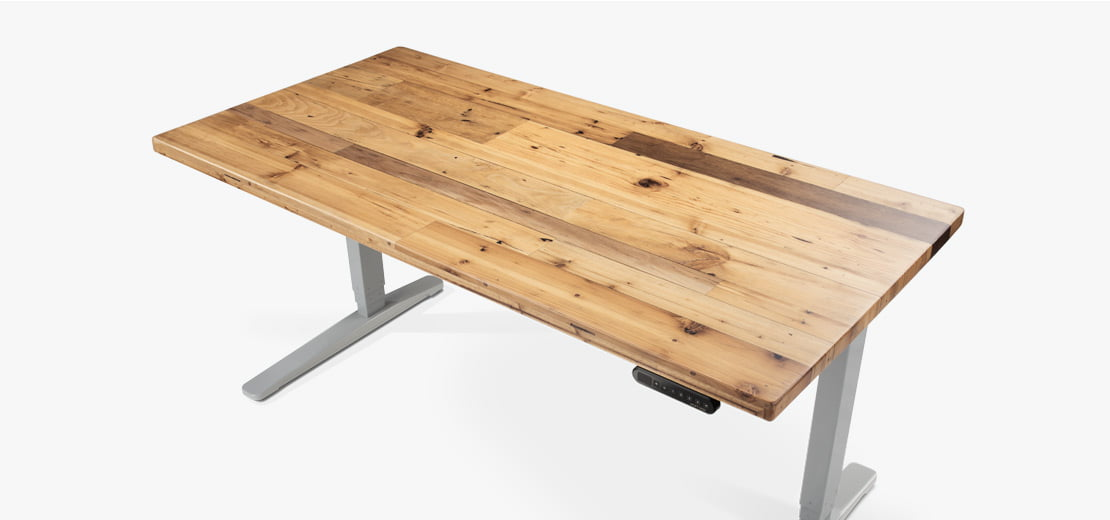 A Douglas Fir Reclaimed Wood Standing Desk On Gray Height Adjule Frame