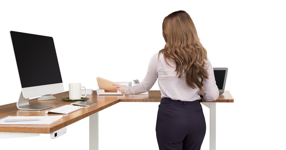 Height Adjustable Standing Desk with L-Shaped Top